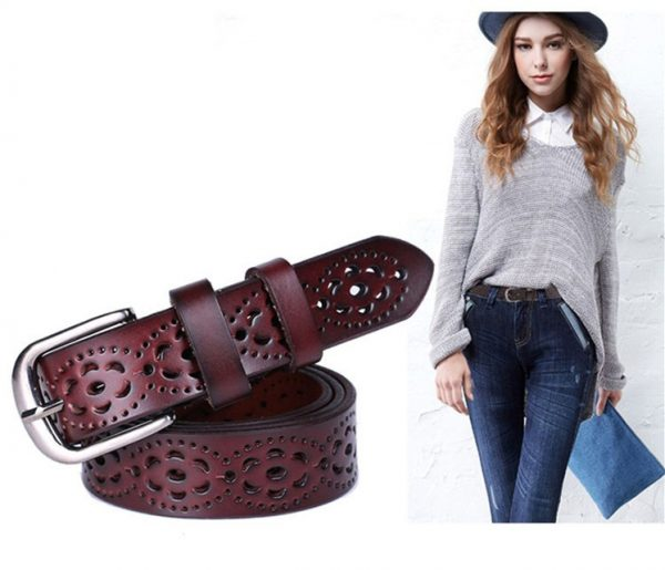 Women's Wide Genuine Leather Belt - Dark Brown
