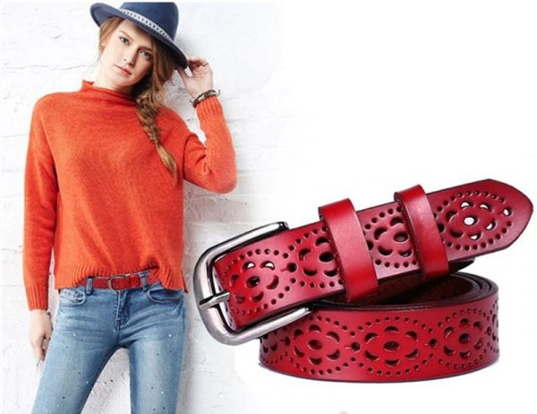 Women's Wide Genuine Leather Belt - Red Model