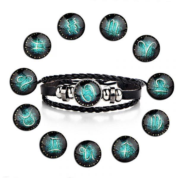 Men's Leather Zodiac Bracelet