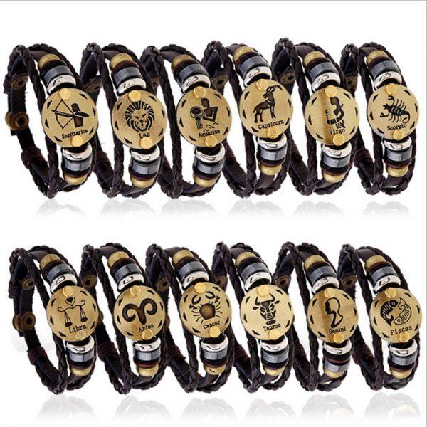 Leather Friendship Bracelet with Zodiac Symbol 1