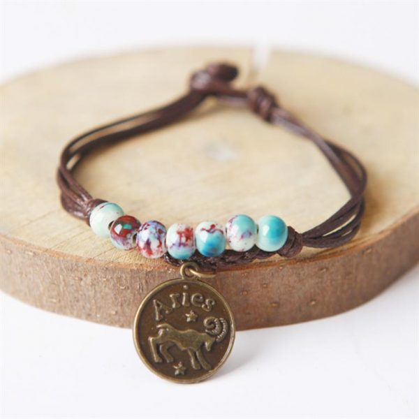 Charm Bracelet With Astrological Sign Pendant - Aries