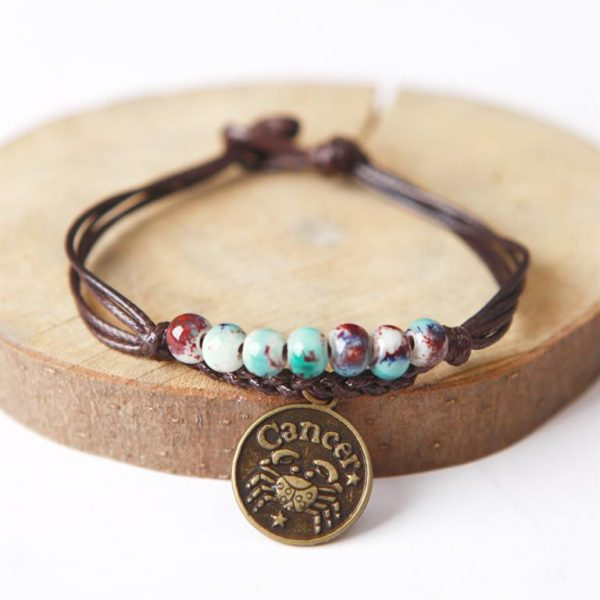 Charm Bracelet With Astrological Sign Pendant - Cancer