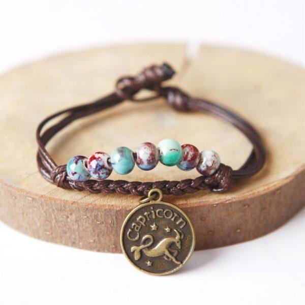 Charm Bracelet With Astrological Sign Pendant - Capricorn