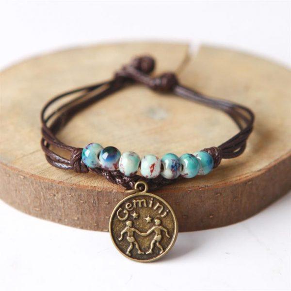 Charm Bracelet With Astrological Sign Pendant - Gemini