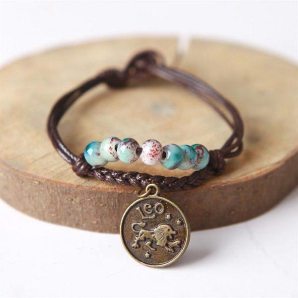 Charm Bracelet With Astrological Sign Pendant - Leo