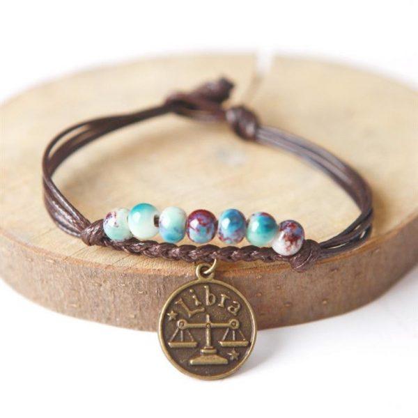 Charm Bracelet With Astrological Sign Pendant - Libra