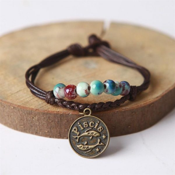 Charm Bracelet With Astrological Sign Pendant - Pisces