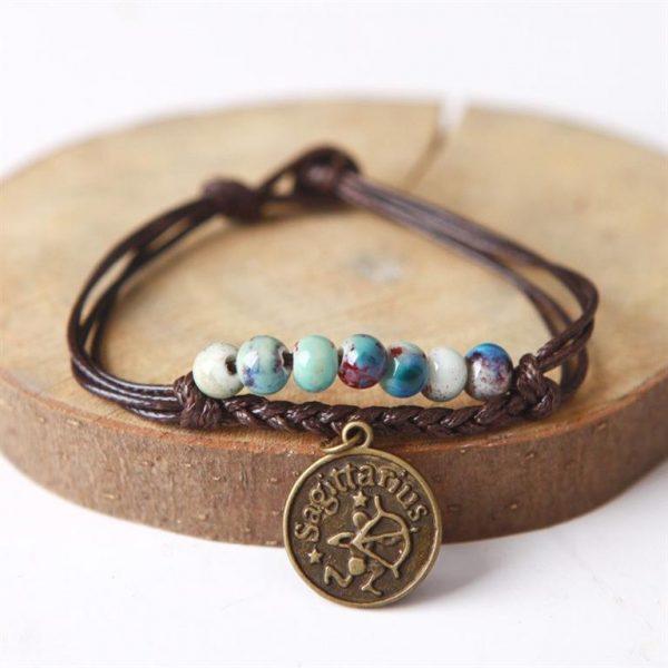 Charm Bracelet With Astrological Sign Pendant - Sagittarius