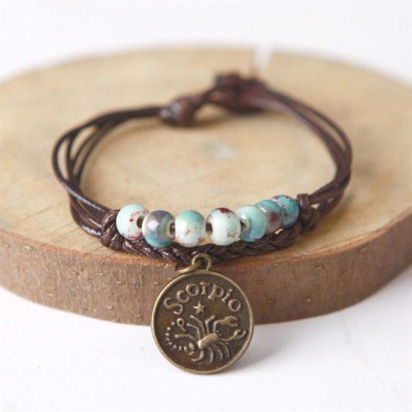 Charm Bracelet With Astrological Sign Pendant - Scorpio
