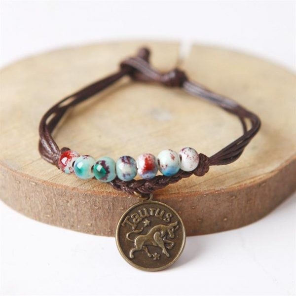 Charm Bracelet With Astrological Sign Pendant - Taurus
