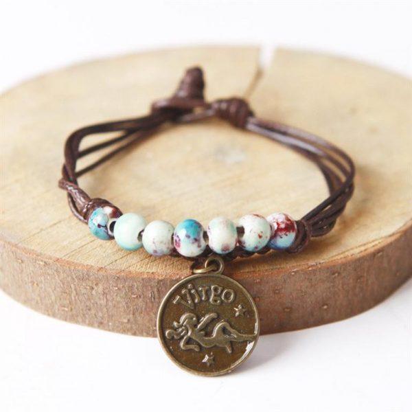 Charm Bracelet With Astrological Sign Pendant - Virgo