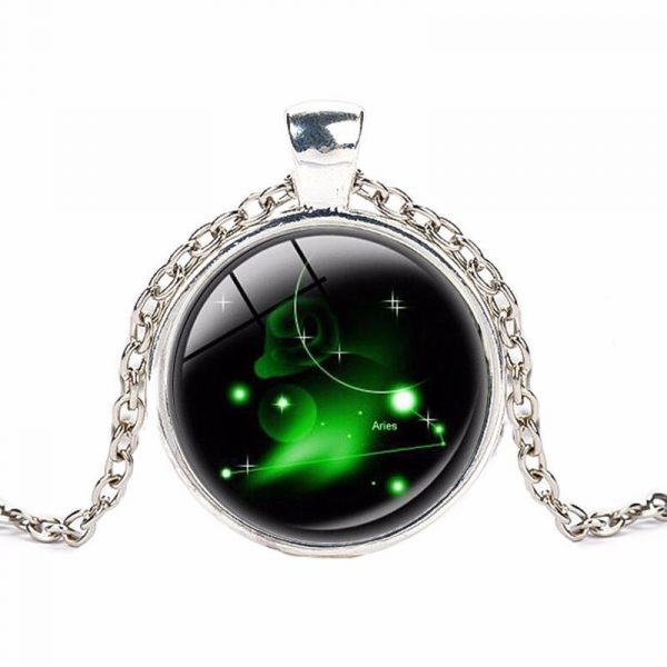 Crystal Zodiac Pendant With Silver Chain - Aries