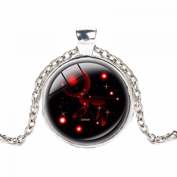 Crystal Zodiac Pendant With Silver Chain 1