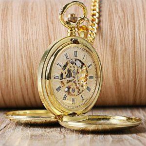 Gold Color Mechanical Pocket Watch - 1