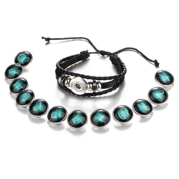 Men's Leather Zodiac Bracelet - All Signs - Open