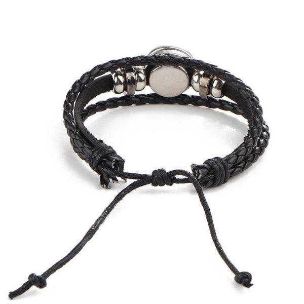 Men's Leather Zodiac Bracelet - Back