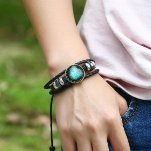 Men's Leather Zodiac Bracelet