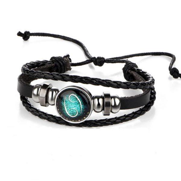 Men's Leather Zodiac Bracelet - Details