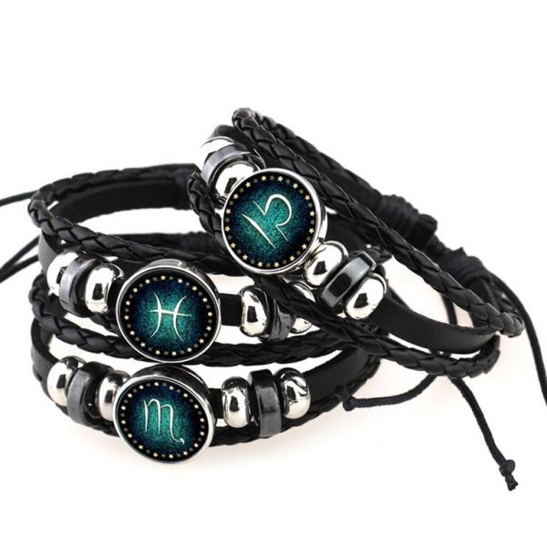 Men's Leather Zodiac Bracelet - Several