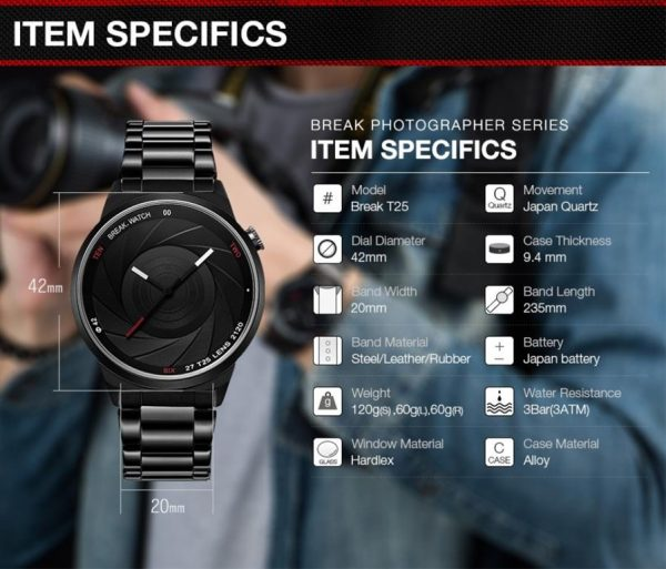 Men's Photographer Series Camera Style Watch - Specs
