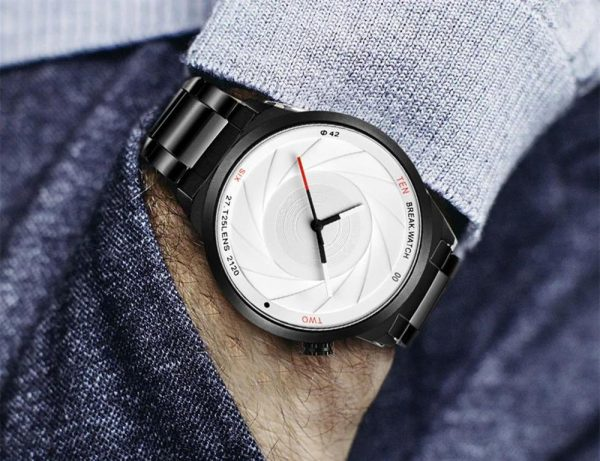 Men's Photographer Series Camera Style Watch - White Face