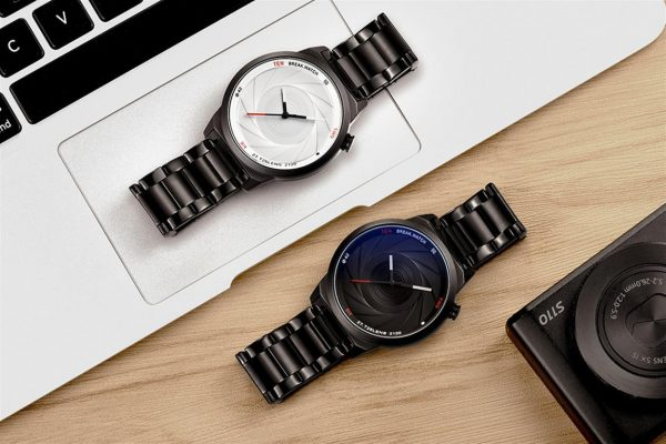 Men's Photographer Series Camera Style Watch - White and Black