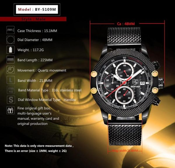 Men's Waterproof Sports Chronograph - Features