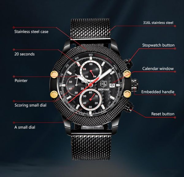 Men's Waterproof Sports Chronograph - Specs