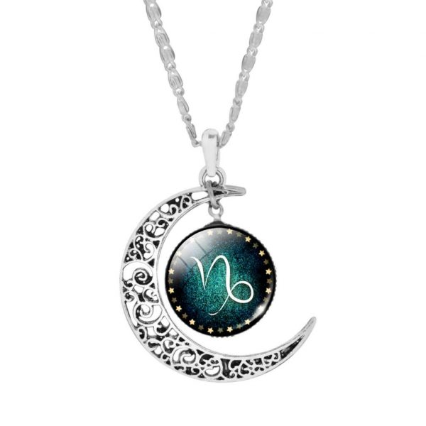 Trendy Silver Plated Zodiac Necklaces - Capricorn