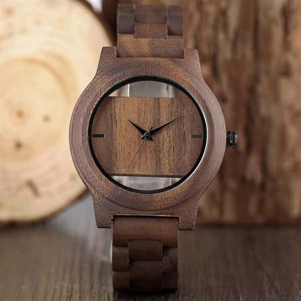 Unique Hollow Handmade Wooden Watch - 1