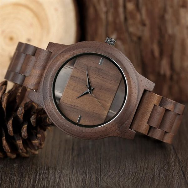 Unique Hollow Handmade Wooden Watch - 3