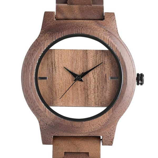 Unique Hollow Handmade Wooden Watch - front