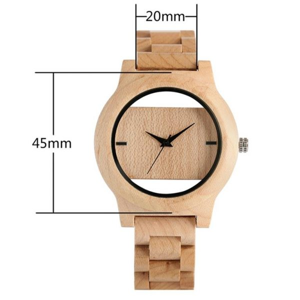 Unique Hollow Handmade Wooden Watch - size
