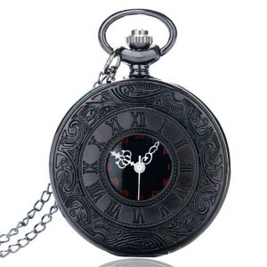 Vintage Black Unisex Pocket Watch
