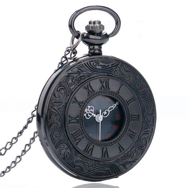 Vintage Black Unisex Pocket Watch - Angle