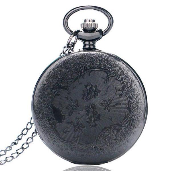 Vintage Black Unisex Pocket Watch - Back 2