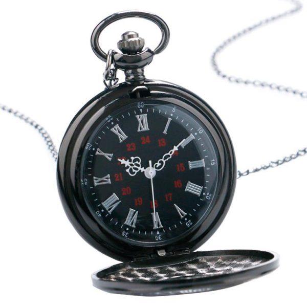 Vintage Black Unisex Pocket Watch - Open