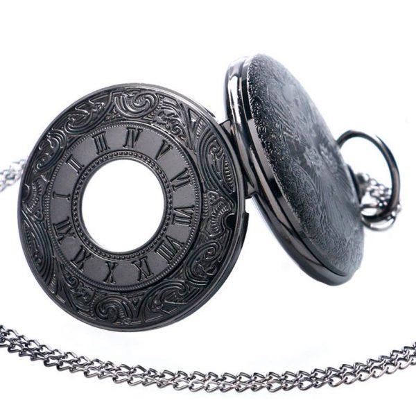 Vintage Black Unisex Pocket Watch - Side