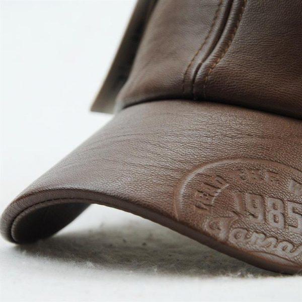 Vintage Leather Baseball Cap - Bill