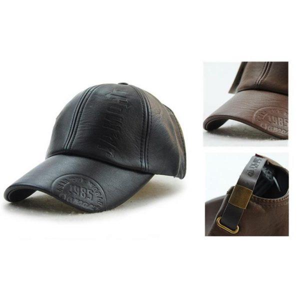 Vintage Leather Baseball Cap - Details