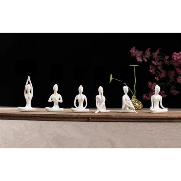 White Ceramic Yoga Figurines - set 1