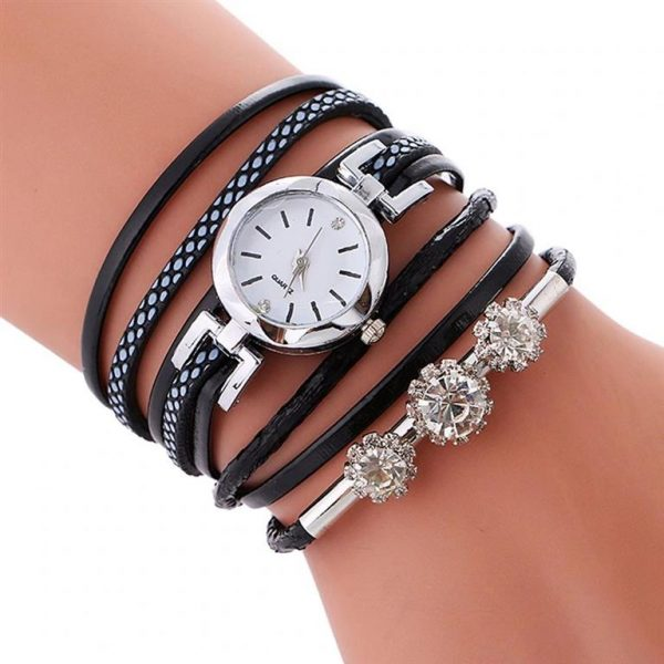 Women's Luxury Rhinestone Bracelet Watch- Black