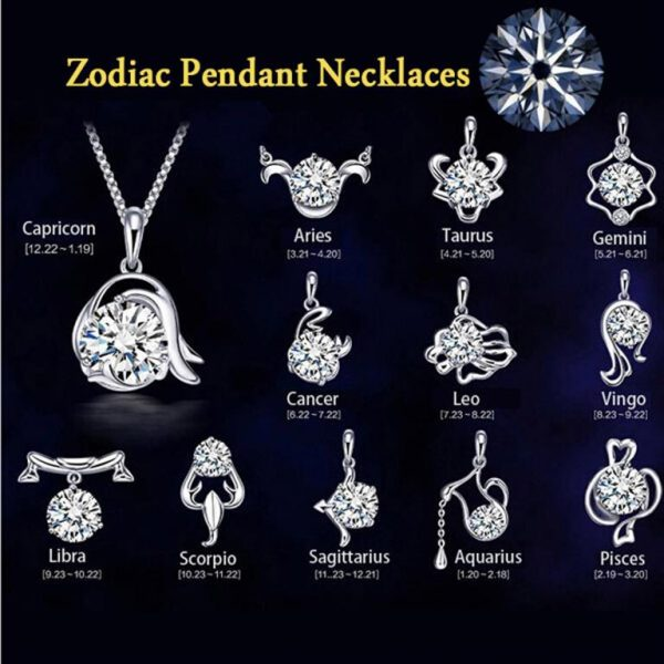 Women's Zircon Silver Plated Zodiac Pendants