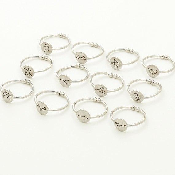 Women's Zodiac Open Rings - Silver