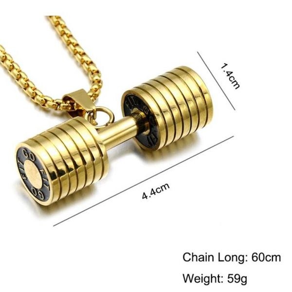 Barbell Pendant Necklace For Men - Bling Collection - Size
