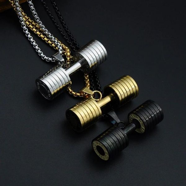 Barbell Pendant Necklace For Men - Bling Collection - Colour