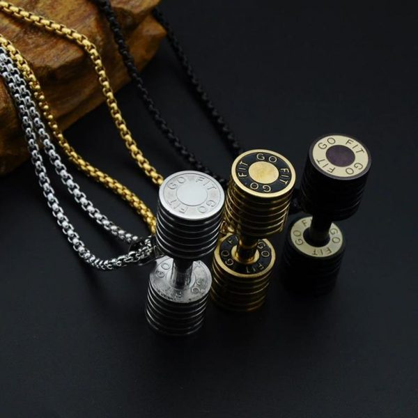 Barbell Pendant Necklace For Men - Bling Collection - Go Fit