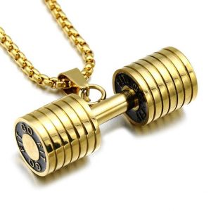 Barbell Pendant Necklace For Men - Bling Collection - Gold Closeup