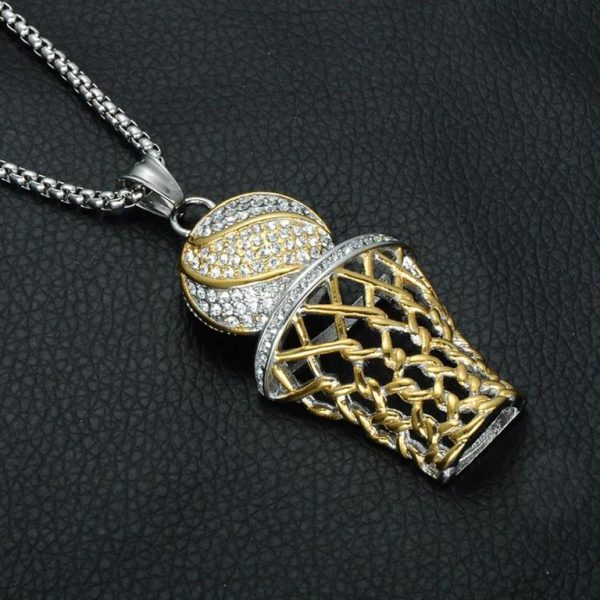 Basketball Hoop Pendant With Chain - Bling Collection - Black Surface - Gold - Silver
