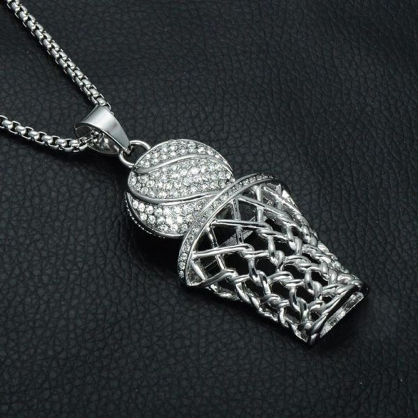 Basketball Hoop Pendant With Chain - Bling Collection - Black Surface - Silver